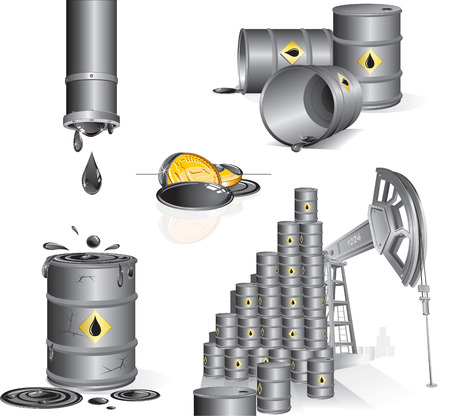 industrial drop: Set of industrial   illustrations-Oil pump,oil barrels,gasoline,pipes  Illustration