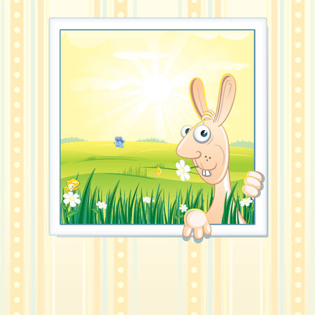 Easter paonting picture on the wall Vector