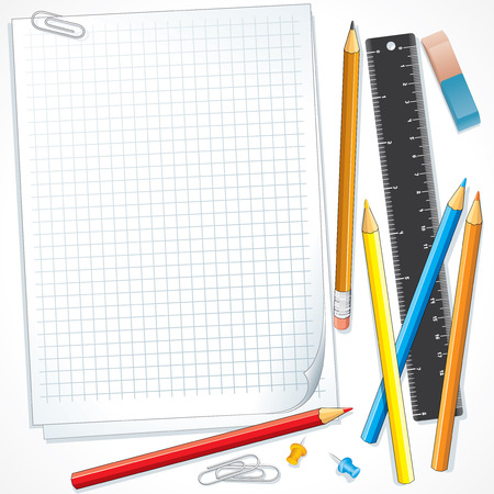 Notebook paper with school supplies -separated   objects Çizim