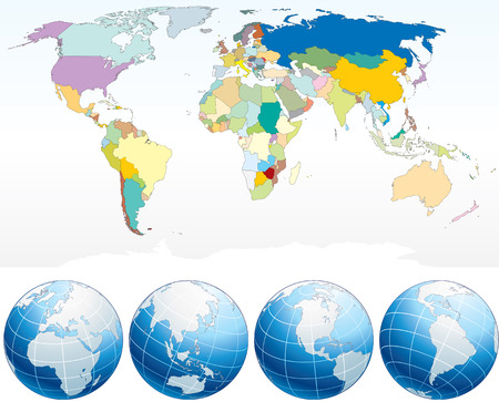 Detailed World Map with Countries, political map with individual drawn objects, separated country and national borders, asia, africa, america, australia, europe etc- ,easy editable colors. Vector