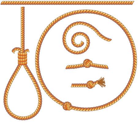 ロープのセット - 孤立デザイン要素: 絞首台の結び目、ループ、スパイラル