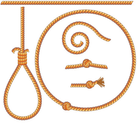 ropes set -  isolated design elements: gibbet,knot,loop,spiral Vector