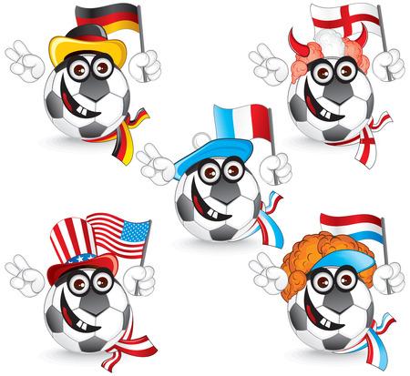 サッカー絵文字セット: ドイツ、イギリス、フランス、オランダ、アメリカのイラスト