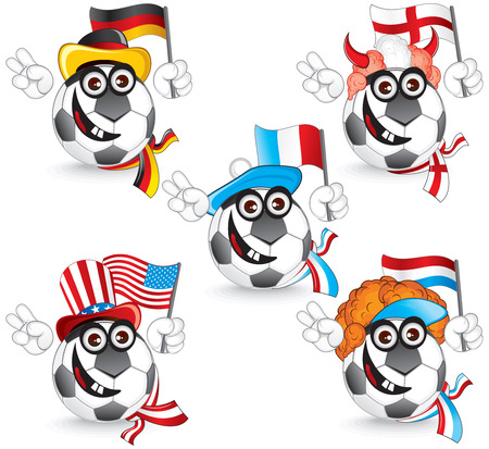 Set of Soccer smileys: germany,england,france,dutch,usa  illustration Vector