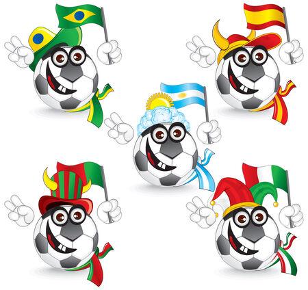 Set of Soccer smileys: brazil,spain,portugal,argentina,italy -  illustration Vector
