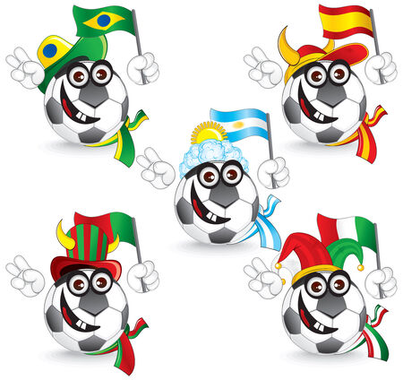 top of the world: Set of Soccer smileys: brazil,spain,portugal,argentina,italy -  illustration