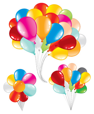 red balloons:  Bunch of celebration balloons -three isolated variants