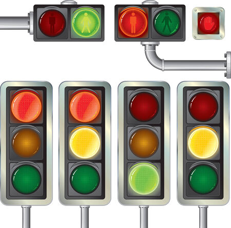 Traffic lights high.Detailed   isolated on white  Vector
