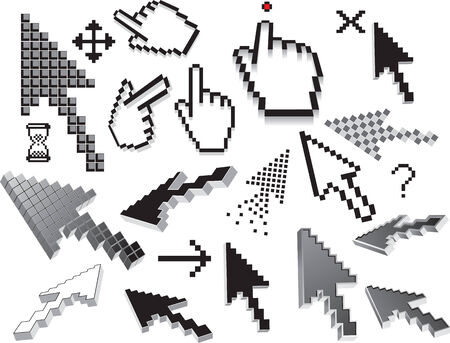 clic: Pixelated icons.  Illustration