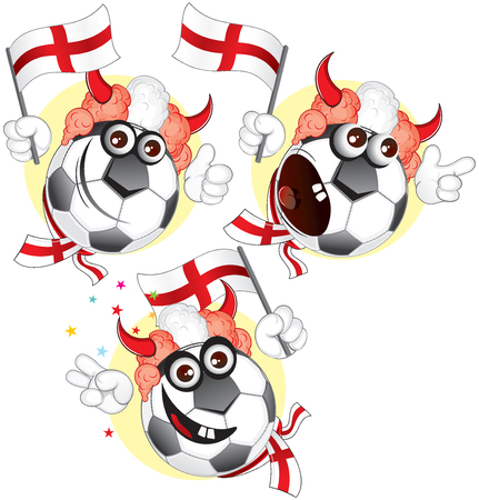 scarves: Cartoon football character emotions- England Illustration