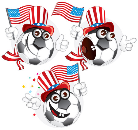 Cartoon football character emotions- American Vector