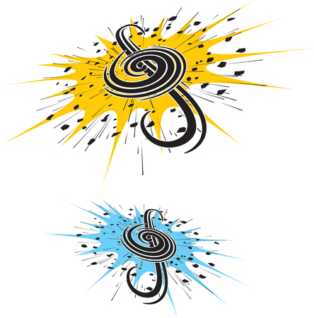 drum and bass: Illustration of stylish Music clef
