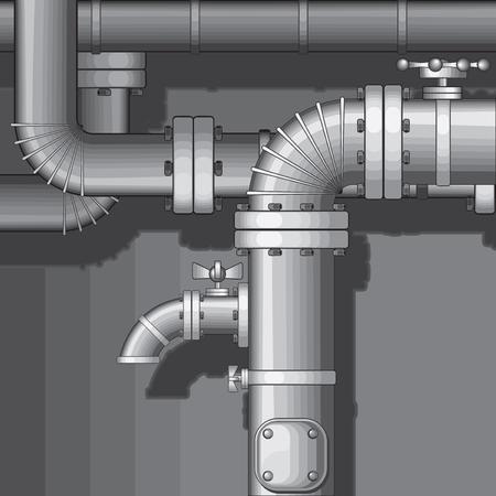 refinaria:  Industrial Pipe Background with faucet(no gradients) Ilustração