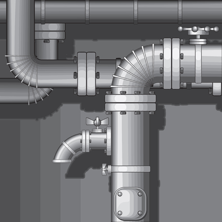 pipelines:  Industrial Pipe Background with faucet(no gradients) Illustration