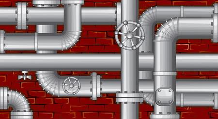 loodgieterswerk: Industriële achtergrond.  Buizen over bak stenen muur (geen verlopen geen mazen)