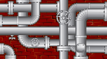 metal pipe: Industrial backdrop.  Pipes over brick wall (no gradients no meshes)  Illustration
