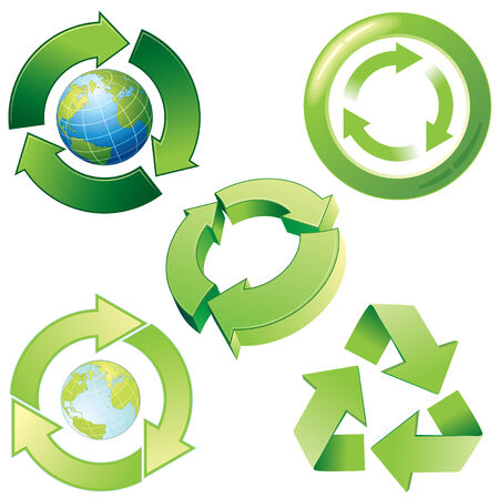 recycle reduce reuse: estilizada iconos de reciclaje