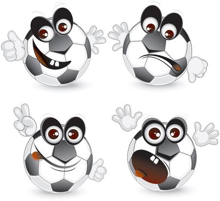 pelota caricatura: Emociones de bola de dibujos animados  Vectores