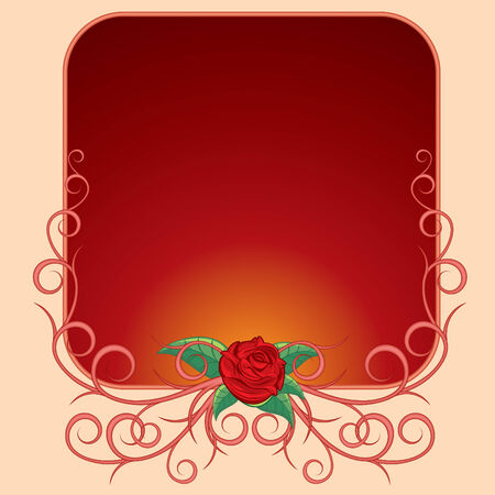 Pink frame with rose branch  Vector