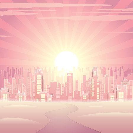 a glamour: Glamour pink cityscape   Illustration