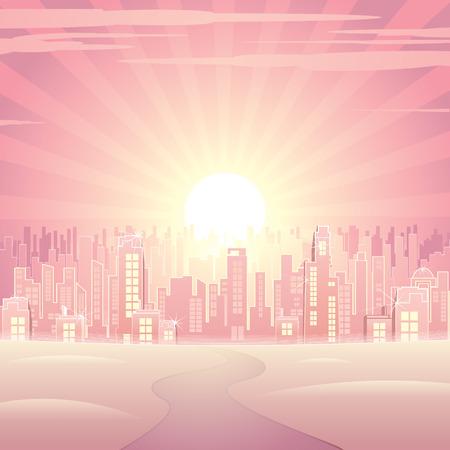 panorama city panorama: Paisaje urbano de glamour Rosa