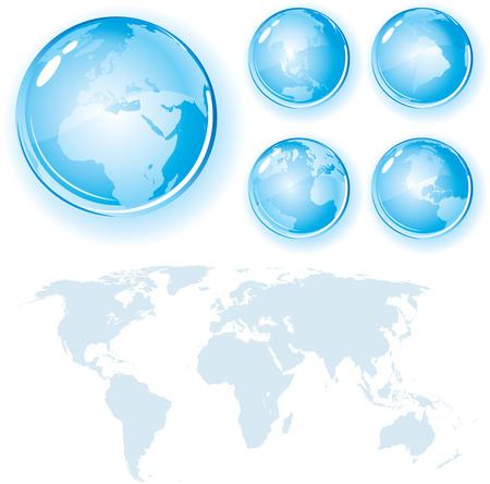 World Map with Glossy globes-detailed   Stock Vector - 7714295