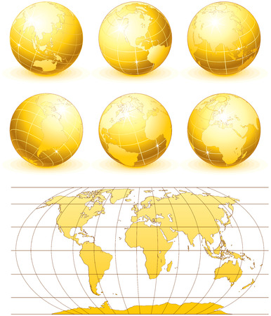 Collection of golden   globes with world map Ilustracja