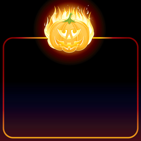 Empty background with Burning Halloween pumpkin Stock Vector - 7714288