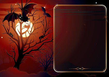 scary forest: Illustrated Halloween background with area for text-editable