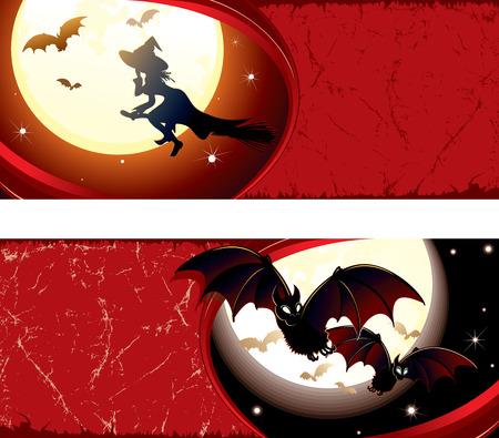 Detailed grunge Halloween  banners  Vector