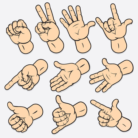 Conjunto de diversos gestos de mano. Ilustración detallada, elementos aislados no degradados utilizado  Ilustración de vector
