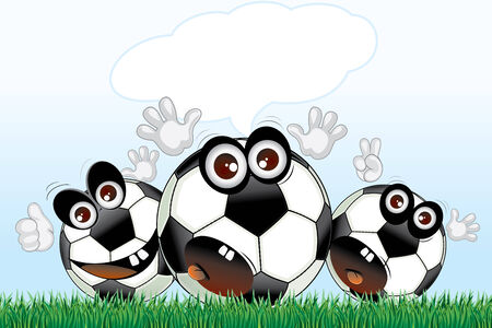 Cartoon soccer balls with speech  Vector