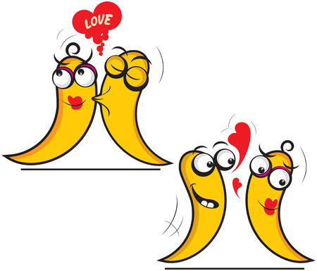 fruit worm: Illustration of  two  flirting things