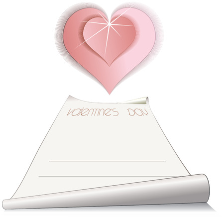 paper scroll with romantic pink heart  Vector