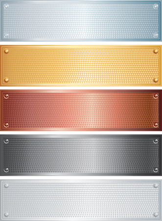 platinum background:   set of metal plates  banners