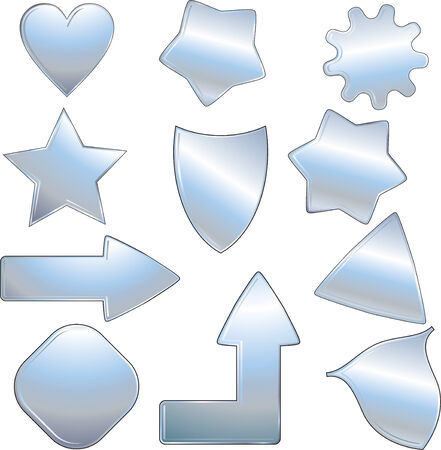 metallic objects collection, isolated icons  Vector