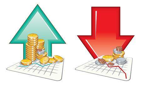 going down: Precio va detallados arriba y abajo - iconos