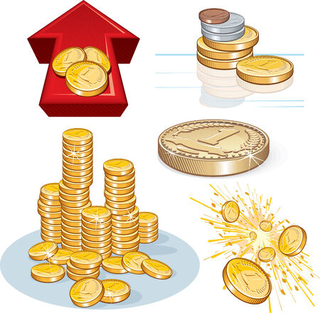 Detailed finance illustrations  icons - colors with no gradients, no meshes Vector