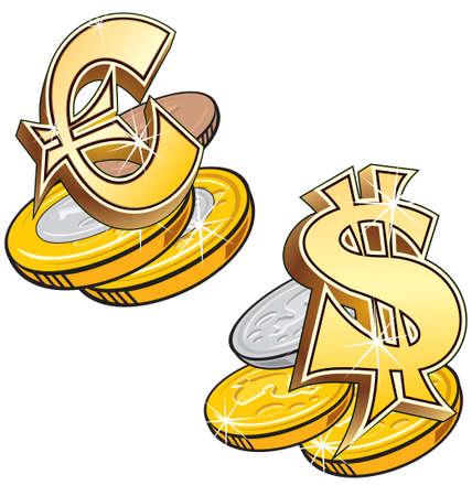 Stylized Money Symbols.Euro and Dollar  Vector