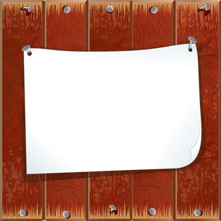bulletin board: Paper sheet on a wooden wall Illustration