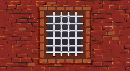 Seamless prison wall with window-  without gradients ,separated elements Vector