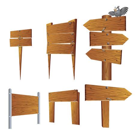木の看板と看板のコレクション  イラスト・ベクター素材