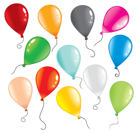 pink balloons:   multicolor balloons