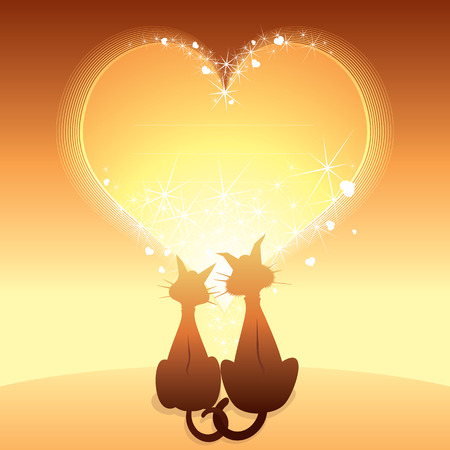 Romantic Card with domestic cats  Vector