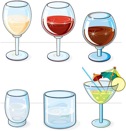 Collection of various glasses (flat colors without gradients) Stock Vector - 7736392