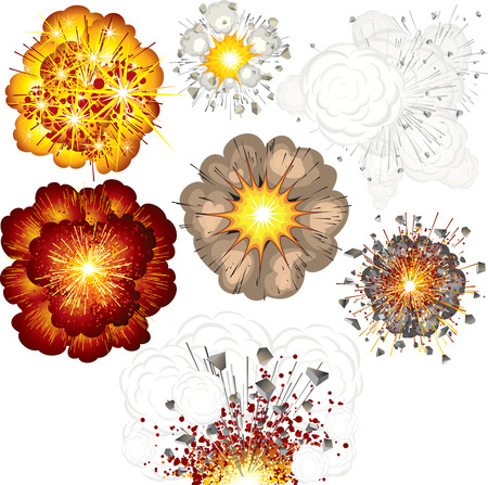 Different explosions-set of  illustrations Vector