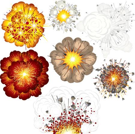 explosie: Verschillende explosies-set van illustraties