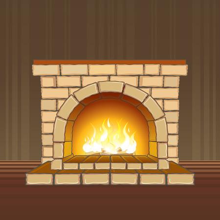 Stenen open haard met flame - gescheiden elementen  Vector Illustratie