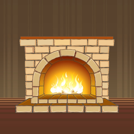 Stone fireplace with flame -separated elements  Vector