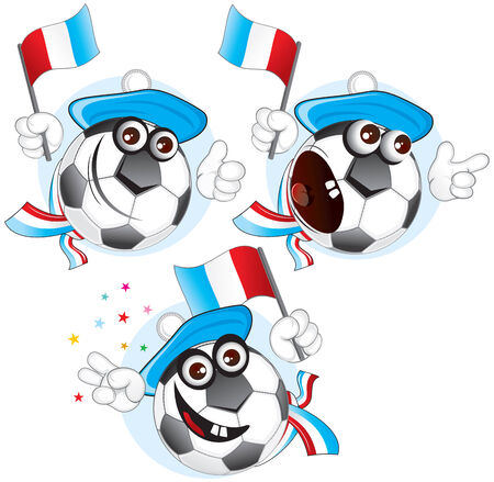 Cartoon football character emotions- FRANCE Vector